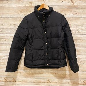 J.Crew Black Down Puffer Jacket Full Zip